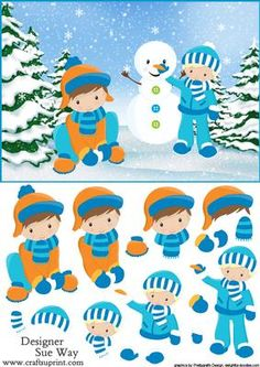 Fun in the Snow Boys Card Front and Decoupage on Craftsuprint designed by Sue Way - A festive card front with snow covered trees. Featuring two little boys making a snowman
