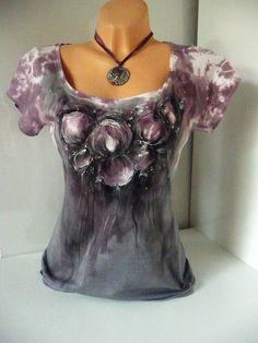 Malované tričko, vínovo-šedé květy( XL)