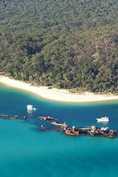 Tangalooma Shipwrecks, breakwall of sunken ships!