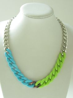 Big chain necklace   light blue lime green by gemstudiomilano, €20.00