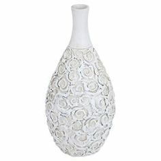 "Ceramic vase with a textured rosette-inspired motif.  Product: Vase Construction Material: CeramicColor: White Dimensions: 18"" H x 9"" Diameter"