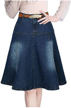 Lingswallow Women Junior High Waist A Line Casual Blue Pleated Denim Skirt Dress >>> Check out the image by visiting the link. Blouse And Skirt, Jeans Dress, Dress Skirt, Maxi Dresses, Fashion Wear, Denim Fashion, Fashion Outfits, 50s Style Skirts, Skirt Outfits