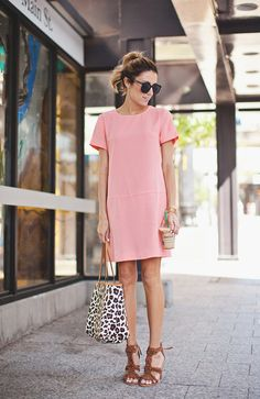 Pink Dress and Leopard Print Bag - Hello Fashion
