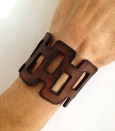 Brown Leather Bracelet Cuff. Cut Out by ChristyKeysCreations
