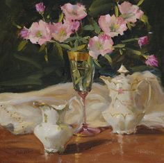 China And Primroses by Judy Crowe - China And Primroses Painting - China And Primroses Fine Art Prints and Posters for Sale