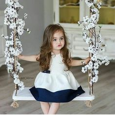 If you are lucky to have a baby girl or boy, you can easily understand power of baby charm. Cute babies are nothing less than marvels of joy. Why people love So Cute Baby, Cute Baby Girl Pictures, Cute Little Girls, Baby Girl Photos, Baby Girl Dresses, Baby Dress, Girl Outfits, Flower Girl Dresses, Fashion Kids