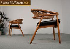 Mid Century Modern Thonet Rattan Chairs