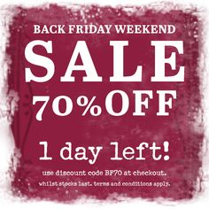 ***1 day left!*** Black Friday Weekend Sale. 70% off our full price range. This weekend only!!! Use discount code BF70 at the checkout. #blackfriday #sale #onebutton #jewellery #scarves #accessories