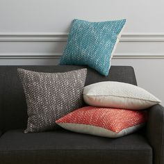 """Shop diamond weave swoon 18"""" pillow.   Handwoven micro diamonds show subtle graphic texture in super-soft blue cotton.  Natural color peeks through, creating a variegated two-tone palette.  Reverses to solid natural cotton with linen look."""