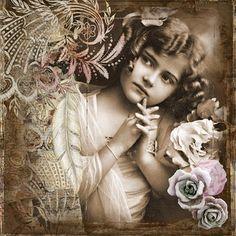 Little, Girl, Vintage, Art, Collage