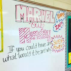 MARVEL-ous Monday!! #iteachtoo #iteach7th #teachersfollowteachers #teachersofinstagram #miss5thswhiteboard