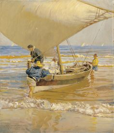 "master-painters: "" Enrique Martínez Cubells - Fishermen Dragging Their Boat "" Spanish Painters, Spanish Artists, Art Espagnole, Visual Texture, Malaga, Expositions, Seascape Paintings, Impressionist, Strand"