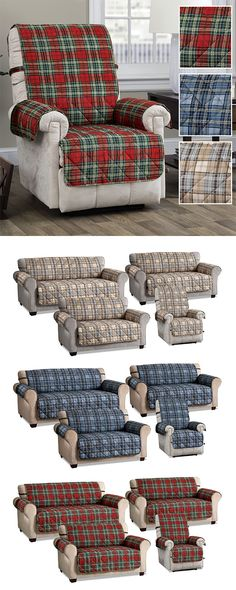 Your pets will love the printed plaid pattern on the Burnett Secure Fit(TM) Furniture Protector. This rustic, polyester microfiber cover has a charming design with diamond quilting and fabric-covered elastic straps. Furniture Covers, Find Furniture, Loveseat Covers, Long Sofa, Free Fabric Swatches, Diamond Quilt, Wing Chair, Plaid Pattern, Fabric Covered