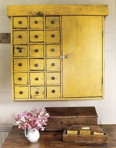 Yellow -- think I will repaint the inside of my antique secretary with milk paint in yellow!