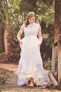Wedding dress/ gown- There Once Was a Girl- long. $450.00, via Etsy.
