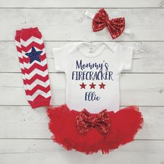 Mommy's Firecracker 4th of July Outfit for Baby Girl Personalized First Fourth of July Outfit Newborn Summer Girl Clothes 027S #4th_of_july_newborn #4th_of_july_outfit #4th_of_july_shirt