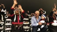 Pitbull with Alaska Native dancers