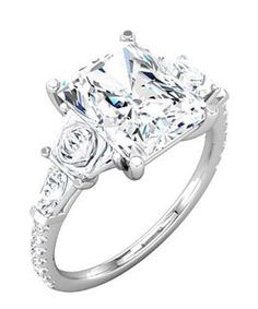 3.01 carat Diamond Engagement Solitaire 14K White Gold Ring Radiant Cut J SI1
