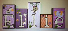 Personalized Wood Blocks - Baby Room Custom Names - M2M CoCaLo's Jacana Bedding Monkeys on Etsy, $8.00