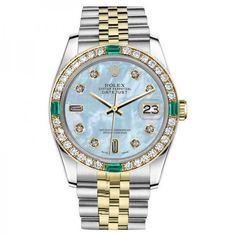 Pre-owned Rolex Datejust 2 Tone Baby Blue Mother Of Pearl 8+2 Emerald... (29.605 DKK) ❤ liked on Polyvore featuring jewelry, watches, pre owned watches, diamond jewellery, rolex wrist watch, diamond bezel watches and diamond watches