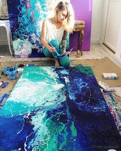 感情の海。深く美しい色彩が波のように漂う抽象絵画 (4)
