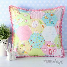 Retro Pillow made using Bunny Trail fabric by Jodie Carlton for Ella Blue Fabrics