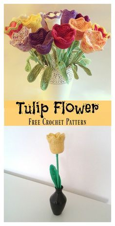 Crochet Puff Flower Tulip Flower Free Crochet Pattern - The Tulip Flower Free Crochet Pattern is the perfect love flower to make a bouquet with. It can be worked up in just about any color with your own hands in just a brief amount of your time. Cactus En Crochet, Beau Crochet, Crochet Puff Flower, Crochet Flower Tutorial, Knitted Flowers, Love Crochet, Crochet Gifts, Beautiful Crochet, Crochet Roses