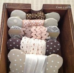 Storing ribbon and cords neatly Sewing Room Organization, Craft Room Storage, Fabric Crafts, Sewing Crafts, Sewing Projects, My Sewing Room, Sewing Rooms, Ribbon Storage, Fabric Journals