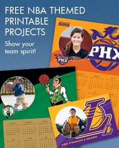 Free NBA Themed Printables-- frames, shirt iron-ons, party invites, calendars