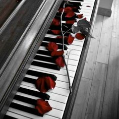 Cute! Surprise the music man with flowers on the piano just for him! On a side note, might be cute to leave sheet music of his and your song as a sweeeeet reminder of how much you love him.