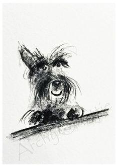 Happy Scottie Dog  Art Print A5