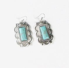 COWGIRL Bling Silver Turquoise Indian Concho Native Tribal design Gypsy EARRINGS #Unbranded #PIERCED  $9.99! JEWELRY BLOWOUT!