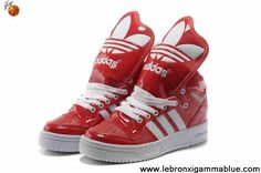 Buy 2013 New Adidas X Jeremy Scott Big Tongue Leather Shoes Red White Basketball Shoes Shop