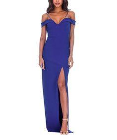 653e1d7cd5 AX Paris Blue Double Strap Side-Slit Maxi Dress - Women. Sukienki Na Imprezy