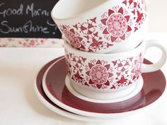 Rosy Cheeks on a Cold Spring Morning, Arklow Pottery, Cup, Saucer and Sugar Bowl Set