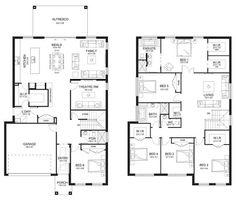Aria 41 - Double Level - Floorplan by Kurmond Homes - New Home Builders Sydney NSW Double Storey House Plans, Double Story House, Two Story House Plans, House Layout Plans, Best House Plans, Dream House Plans, House Floor Plans, The Plan, How To Plan