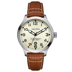 92b7ac6634a Nautica BFD 101 Date 44mm Pebbled Leather Men s Watch N09560G Fantasia