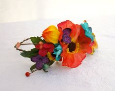 Tropical Flower Crown Summer Bride Floral Crown by RuthNoreDesigns, $38.00