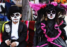 children dressed up for día de los muertos in riverside, ca