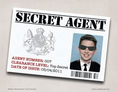 6 Secret Agent / Spy ID Printable Personalized Customized