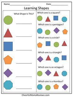 Preschool Worksheet - Learning Shapes