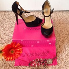 "SONIA High Heels EUC!! Only worn once! Black sueded faux leather with patent toe & straps! Approx heel height 5.5"" including 1.5"" platform. Box & dust cover included. Signature by Shoedazzle Shoes Heels"