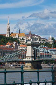 Budapest - Buda sight - Chain Bridge and Matthias Church, Fisherman's Bastion, and Hilton Hotel beyond.