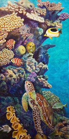 Sea Turtle Painting, Sea Turtle Art, Coral Painting, Dream Painting, Coral Reef Art, Underwater Painting, Underwater Fish, Ocean Drawing, Ocean Illustration