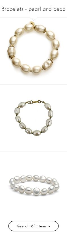 """""""Bracelets - pearl and bead"""" by domino-80 ❤ liked on Polyvore featuring jewelry, bracelets, accessories, gold tone jewelry, faux pearl jewelry, carolee, carolee jewelry, stretch jewelry, necklaces and women"""
