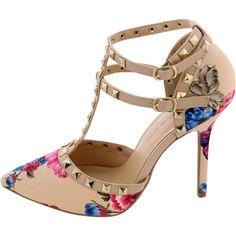 Wild Diva Lounge - Women's Pointy Studded Heel - Beige/Floral