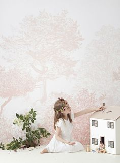 tienda online telas & papel | Mural papel arboles rosas