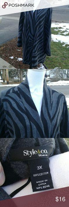 Long sleeve zebra print cardigan Long sleeve zebra print open cardigan, no buttons, smoke free home, EUC Style & Co Sweaters Cardigans