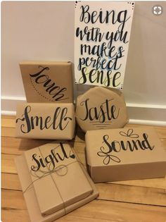 """INSPIRATION PHOTO ONLY: hubby gift idea """"Being with you makes perfect sense"""" with gifts for each of the 5 senses"""