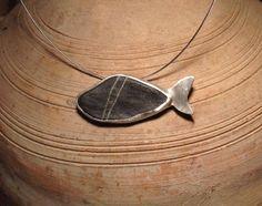 Pebble stone, silver, fish, Samos island